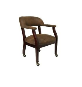 New Conference Chairs Brown Microfiber Guest Chair With Casters And Arm Rests