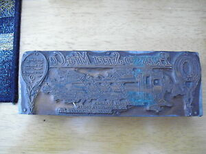 Vintage Wood Metal Printer Block Stamp Pressed Steel Mfg Co