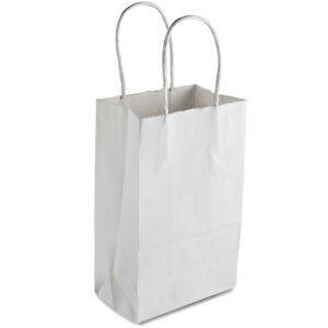 White Paper Shopping Bag With Handles 5 X 3 X 8 250 Bundle