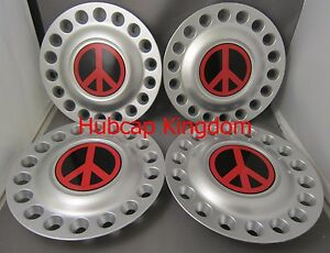 1998 2005 Vw Beetle Bug 16 Wheel Center Hub Cap Set With Red Peace Sign