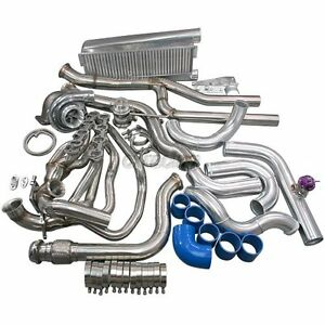Cxracing Turbo Kit Header Intercooler For 79 93 Mustang 5 0 T70 T4 Blue Hose