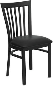 Metal School House Back Restaurant Chair With Black Vinyl Seat