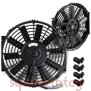 Black 12 Slim Fan Radiator Mazda Rotary Push Pull Electric Cooling 12v 1730 Cfm