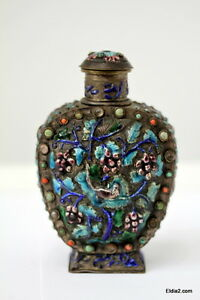 Antique Chinese Enamel Silver Snuff Bottle Or Flask Turquoise Jadeite