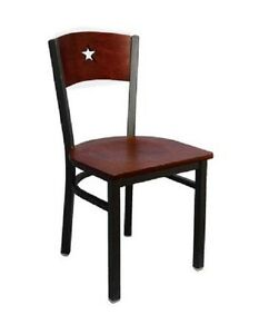 Lot 20 Star Wood Back Design Black Metal Frame Restaurant Chairs Mahogany Seat