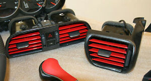 Porsche 996 997 Carbon Fiber Gloss Or Mat Dash Ac Vents With Colored Blades