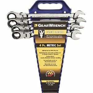 Gearwrench 9903 Flex Head Ratcheting Wrench Set Metric 4 Piece