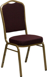 Lot 40 Burgundy Patterned Fabric Crown Back Gold Frame Banquet Stack Chairs