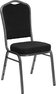 Black Patterned Fabric Crown Back Silver Frame Banquet Stack Chair