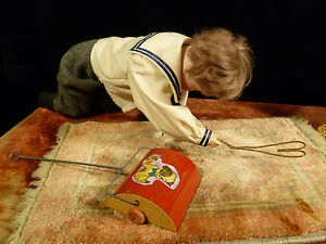 Rare Amazing Mechanized German Doll Rug Or Sweeper Animated Business Display