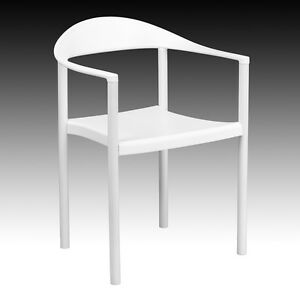 Lot 50 White Plastic Indoor Outdoor Restaurant Stack Chairs 500 Lbs Capacity