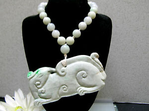 Natural Chinese Antique Old Jade Necklace Vintage Carving Lucky Animal Pendant