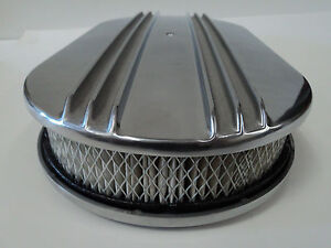 15 Oval Half Finned Polished Aluminum Classic Nostalgia Air Cleaner Fits Chevy