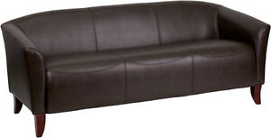 2 Brown Leather Side Chairs Matching Brown Leather Sofa Set
