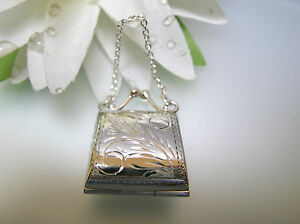 Sterling Silver Purse Locket Pill Box Pendant Chain Handle Floral Vintage Design
