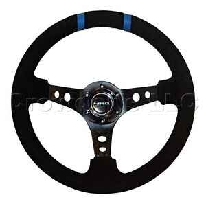 Nrg Steering Wheel 16 350mm Black Suede Blue Double Center Markings