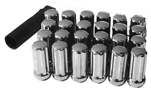 32 Lug Nuts Spline Acorn 14x1 5 Long Chrome Tall Wheel Nut Ford Superduty Key