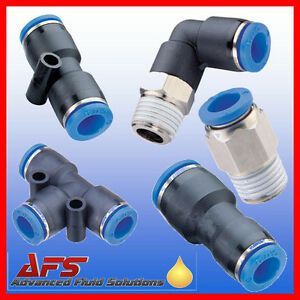 Pneumatic Push In Fittings For Air water Nylon Pipe Tubing Tube Choice Thread Uk