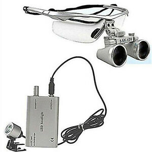 3 5x 420 Dental Surgical Binocular Loupes Led Dental Head Light Lamp Silver Bs
