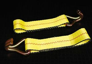 2 Ratchet Strap Replacement Fixed End Flatbed Truck Trailer Tie Down J Wire Hook