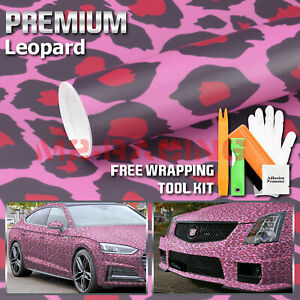 24 x60 Pink Leopard Vinyl Wrap Sticker Decal Sheet Interior Exterior