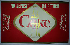 COCA-COLA DIAMOND BOTTLE LABEL FOR 26 OZ  BOTTLES MINT CONDITION 1960'S