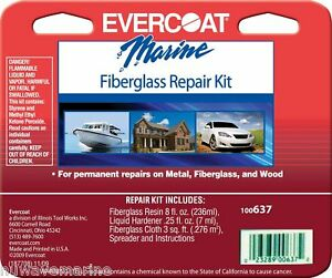 Evercoat Fiberglass Repair Kit Boat Marine 637 Polyester Resin 8 Oz Fib 100637