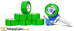 12 Rolls Green 2 X 110 Yds Carton Sealing Packing Tape 2 Mil Free 2 Gun Tape