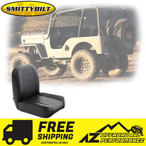 Smittybilt Low Back Bucket Front Seat 55 76 Jeep Cj 44801 Black Vinyl