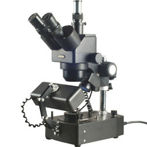Amscope 10x 60x Jewelry Gem Trinocular Stereo Microscope With Three Lights