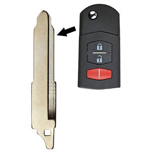 Remote Flip Key Head Keyless Replacement Uncut Blade Blank Transmitter For Mazda