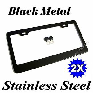 2pcs Black Stainless Steel Metal License Plate Frame Tag Cover Screw Caps Bf 2