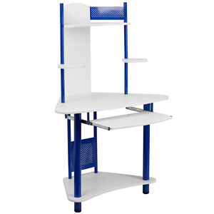 Blue Corner Computer Desk With Hutch Top Shelf With Protective Siding