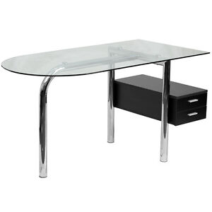 Glass Computer Desk With Two Drawer Pedestal Chrome Frame Finish
