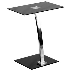 Laptop Computer Desk With Silk Black Tempered Glass Top Computer Stand Chrome