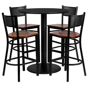 Restaurant Table Chairs 36 Black Laminate With 4 Grid Back Metal Bar Stools