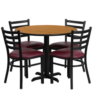 Restaurant Table Chairs 36 Natural Laminate With 4 Ladder Back Metal Burg Vinyl