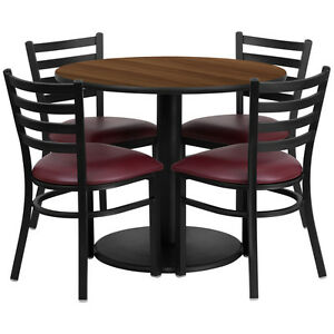 Restaurant Table Chairs 36 Walnut Laminate With 4 Ladder Metal Burg Vinyl Seat