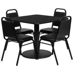 Restaurant Table Chairs 36 square Black Laminate With 4 Trapezoidal Back Banquet