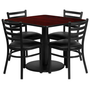 Restaurant Table Set 36 Mahogany Laminate With 4 Ladder Back Metal Vinyl Seat