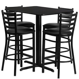 Restaurant Table Chairs 24 wx42 l Black Laminate With 4 Ladder Metal Bar Stool