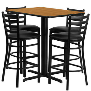 Restaurant Table Chairs 24 x42 Natural Laminate With 4 Ladder Metal Bar Stool