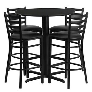 Restaurant Table Chairs 30 Round Black Laminate With 4 Ladder Metal Bar Stools