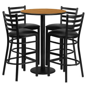 Restaurant Table Chairs 30 Natural Laminate With 4 Ladder Metal Bar Stools