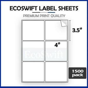 9000 4 X 3 1 3 Laser ink Address Shipping Self adhesive Labels 6 Per Sheet