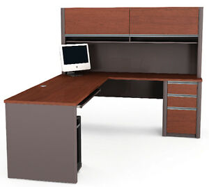 Bestar Connexion L Shape Office Desk W Hutch In Bordeaux Slate