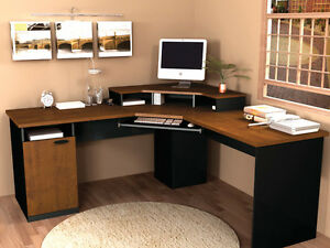 Laminate Corner Desk With Keyboard Shelf In Tuscany Brown Black