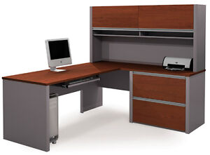 Bestar Connexion L Shape Office Desk W Hutch In Bordeaux Slate 93867 1539