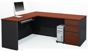Bestar Prestige L Computer Desk With Keyboard Shelf In Bordeaux