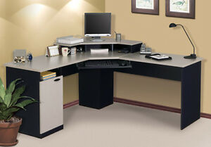 Laminate Corner Desk With Keyboard Shelf In Sand Granite Charcoal Finish